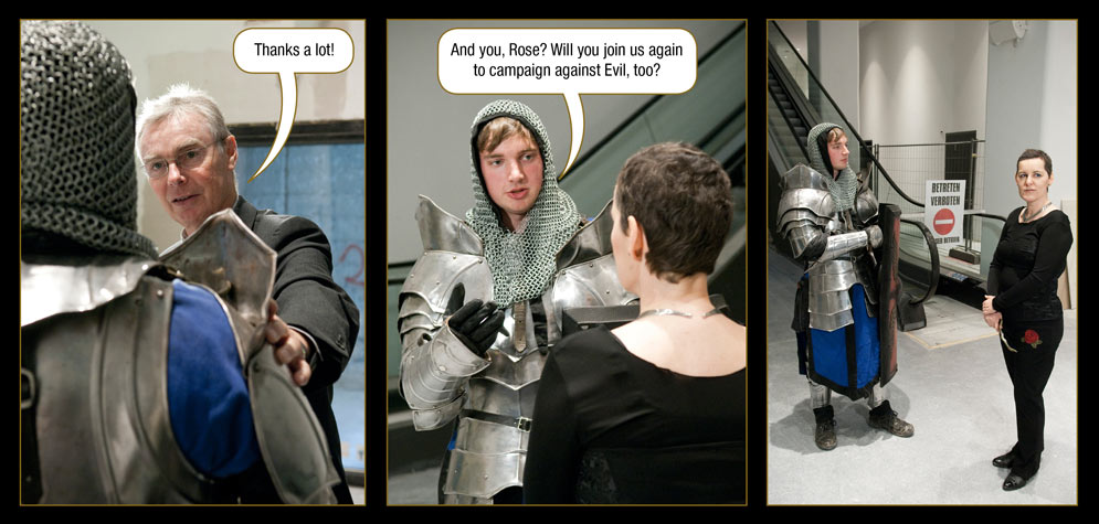 Episode 7, Page 26: The One Who Knows: Thanks a lot! / The Ritter von Berg: And you, Rose? Will you join us again to campaign against Evil, too?